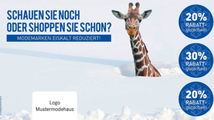 Mailing Giraffe im Schnee